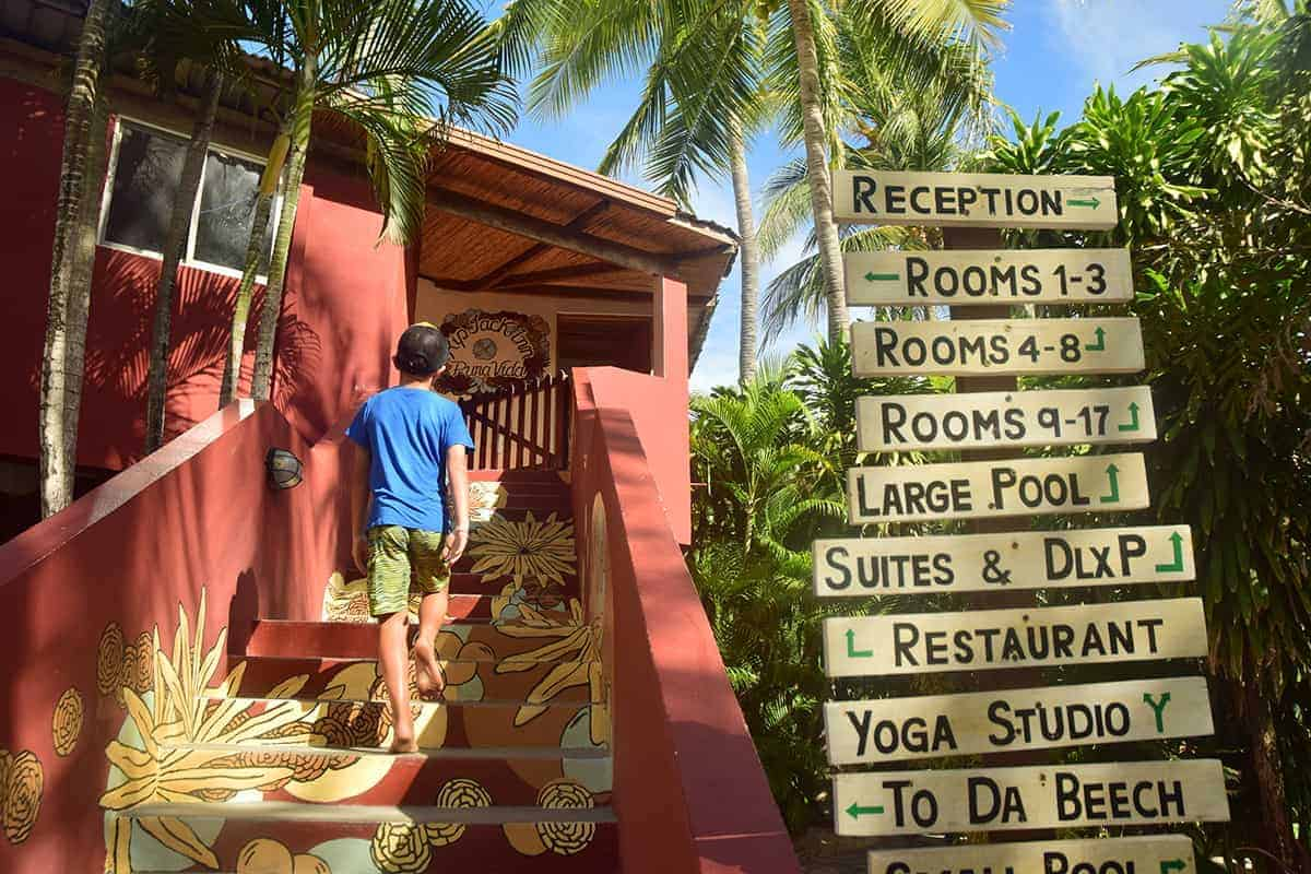 Leo, entrance, RipJack Inn, Playa Grande