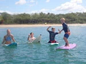 Family surfing, RipJack Inn, Playa Grande
