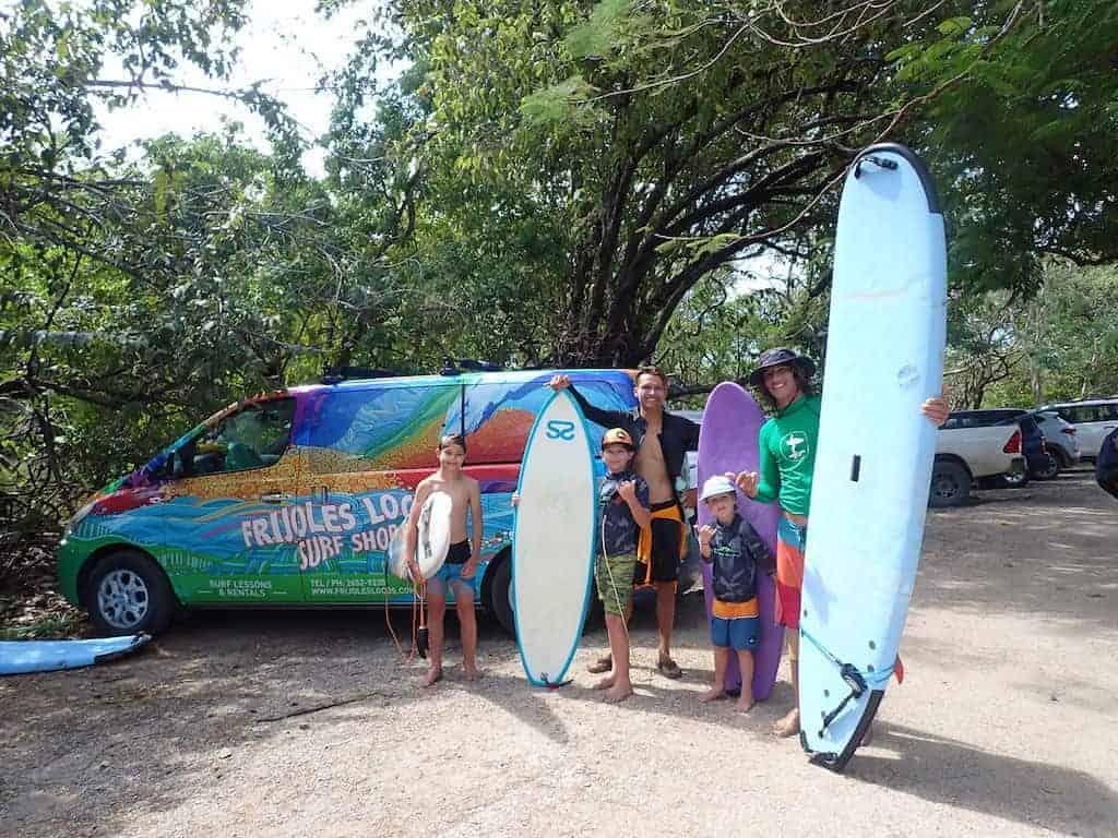 family surf lesson with Frijoles locos