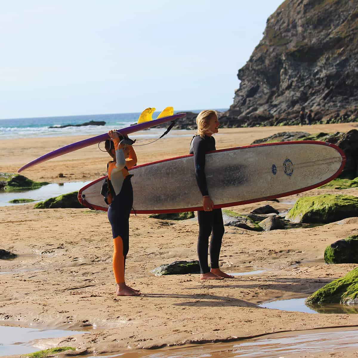 Mum and son surf, Mawgan Porth, Cornwall, Family Surf Co