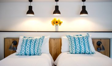 Twin Bedroom, Whipsiderry Beach, Watergate Bay, Bull Pen, Lower Trewince Farm, Cornwall, Self-catering family house, Family Surf Co. Family Surfing Holiday