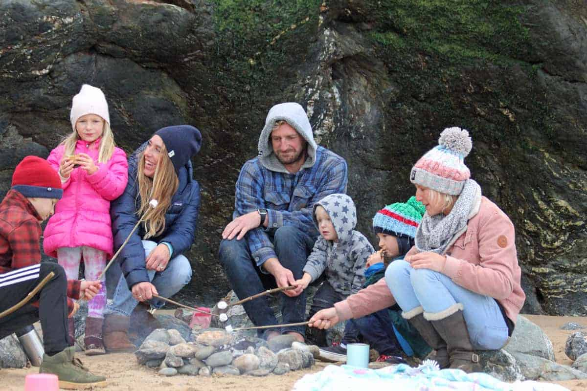 Roasting Marshmallows, beach fire, Mawgan Porth, Family Surfing Life, Cornwall