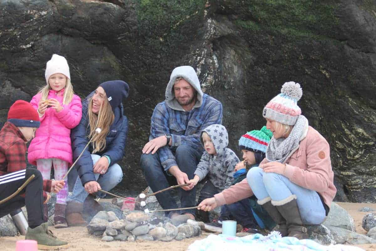 Roasting Marshmallows, Family Surf Co. Watergate Bay, Mums family surf breaks,