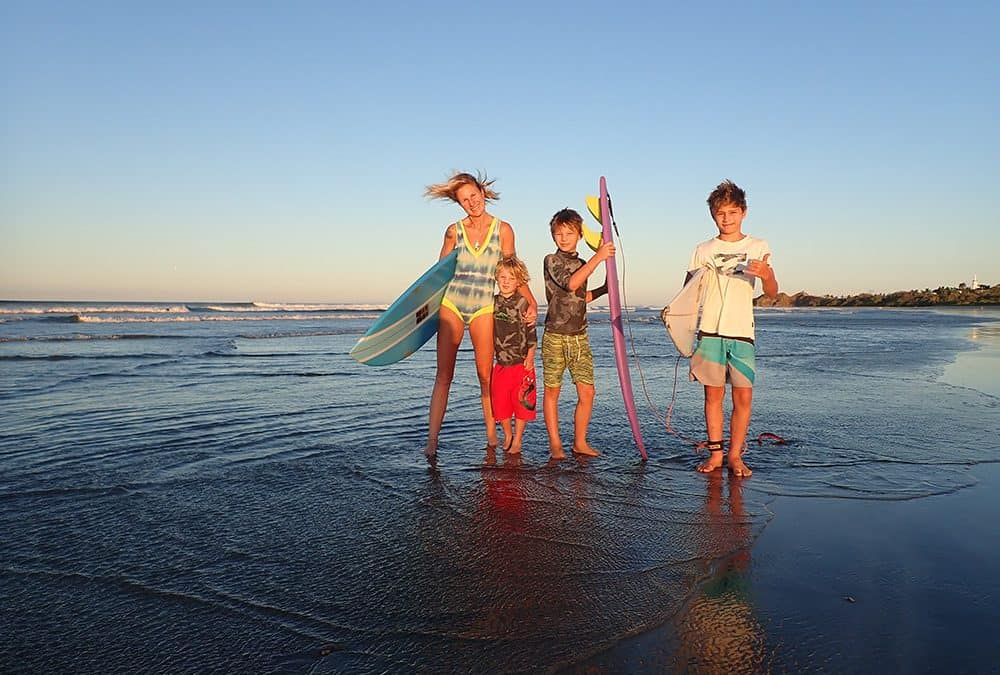 Surfing family, Playa Guiones, Nosara, Sunset Shack, Costa Rica, Mums Family Surf Breaks, Surfer mum, Family Surf Co